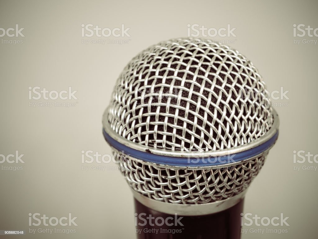 Close up of microphone for karaoke room stock photo