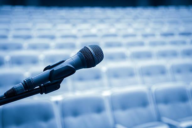 Close Up of Microphone In Bluetone stock photo