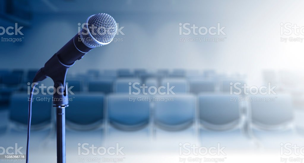 Close up of Microphone on stand in conference room