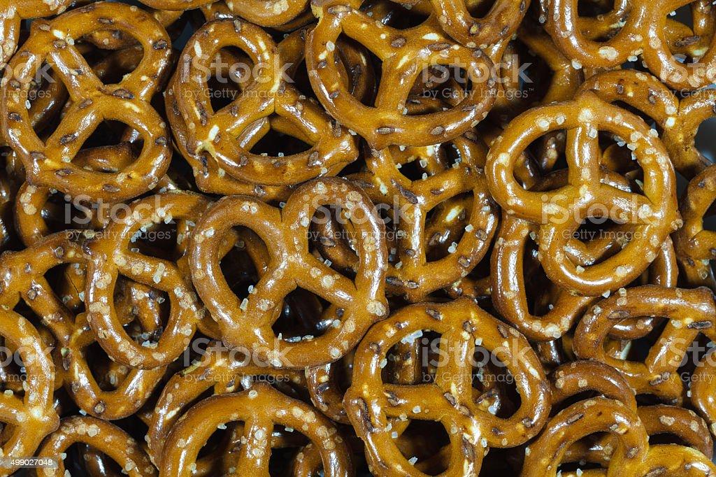 Close up of mini pretzels stock photo