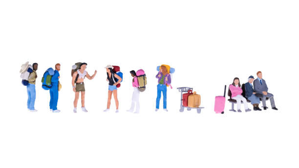 Close up of Miniature backpacker and tourist people stock photo