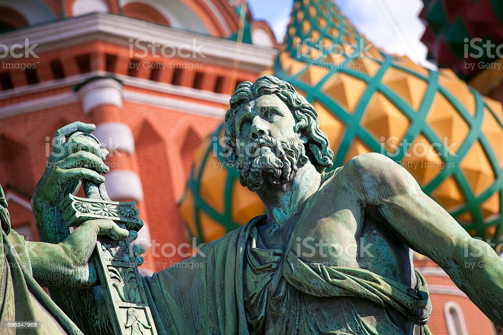 Close up of Minin and Pozharsky monument on Red square royalty-free stock photo