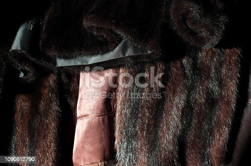close up of mink coats showing fur and lining.