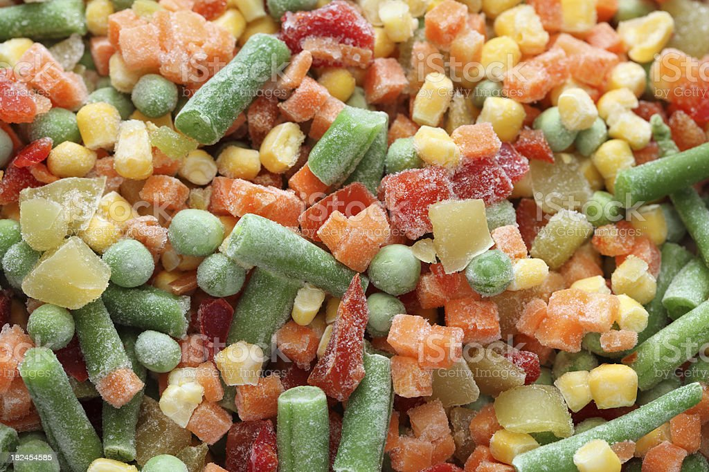 A close up of mixed frozen vegetables royalty-free stock photo