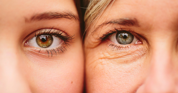 Close up on eyes of mother and daughter faces next to one another