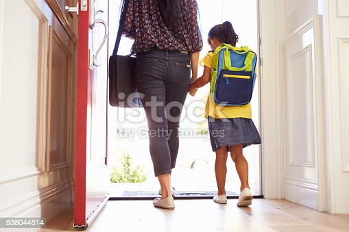 istock Close Up Of Mother And Daughter Leaving For School 538044514