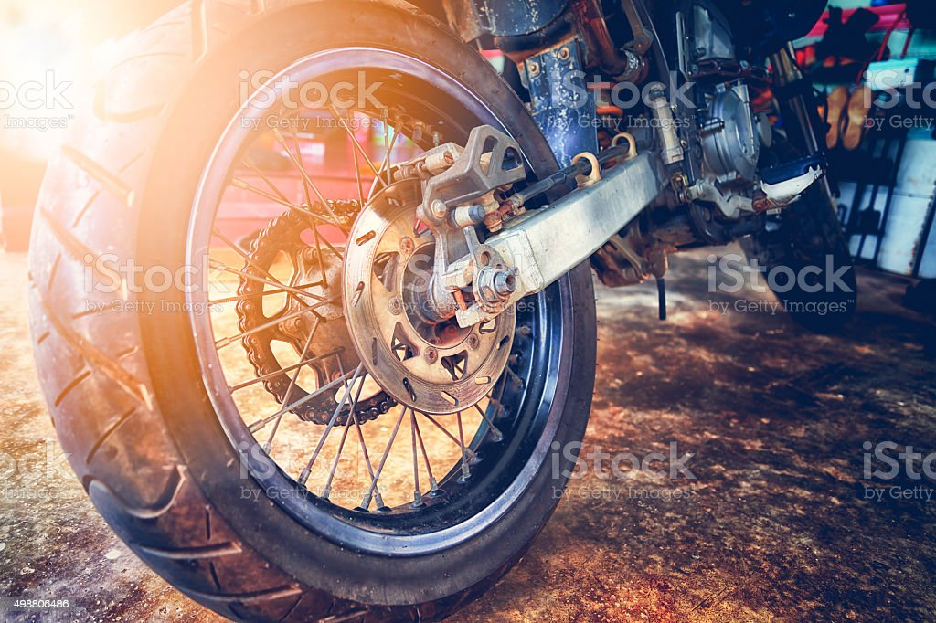 close up of motorcycle wheel, focus tyre stock photo