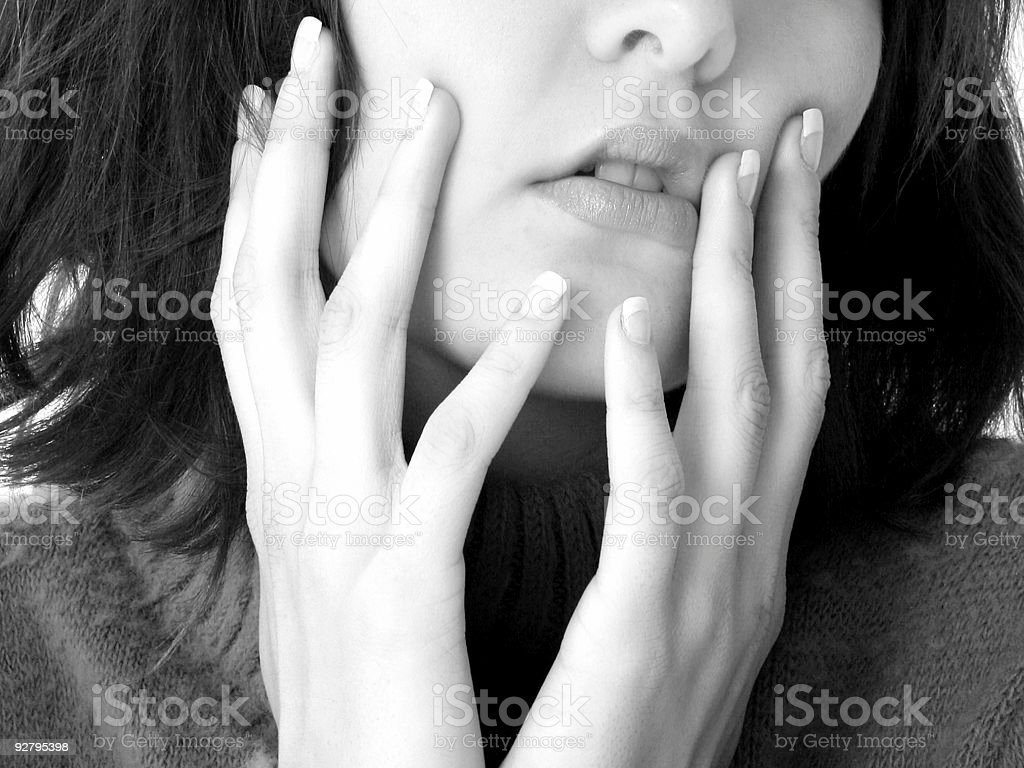 Close Up of Mouth and Hands royalty-free stock photo