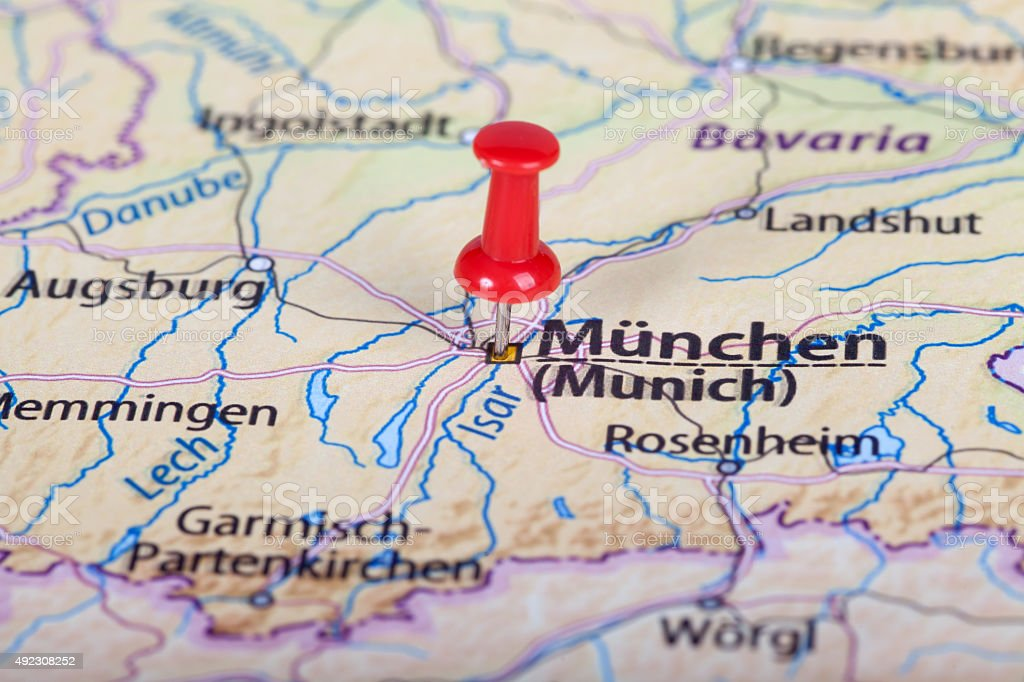 Close up of munich map with red pin stock photo more pictures of close up of munich map with red pin royalty free stock photo gumiabroncs Choice Image