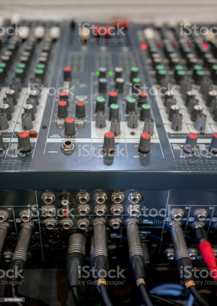 Close Up Of Music Mixer Equalizer Console For Mixer Control