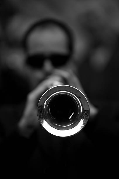 Close up of musician behind his instrument (black and white). stock photo
