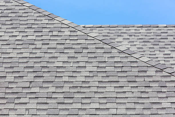 Close up of new rubber roof tiles stock photo