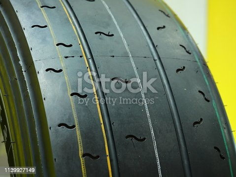 496485590istockphoto Close up of new tire in a row 1139927149