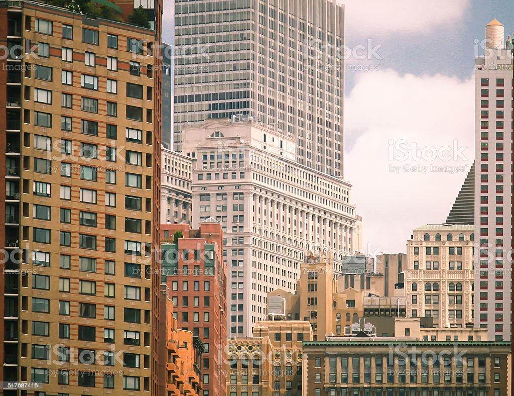 Close up of New York City Buildings stock photo