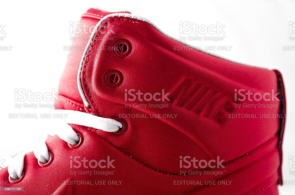Close up of Nike logo on women's trainer royalty-free stock photo