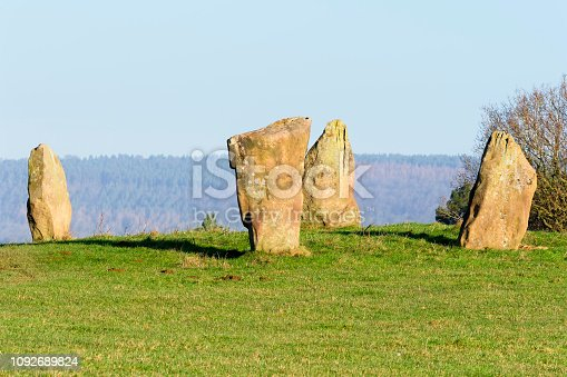 Close up of the remaining four stones of the Nine Stone Circle in Derbyshire
