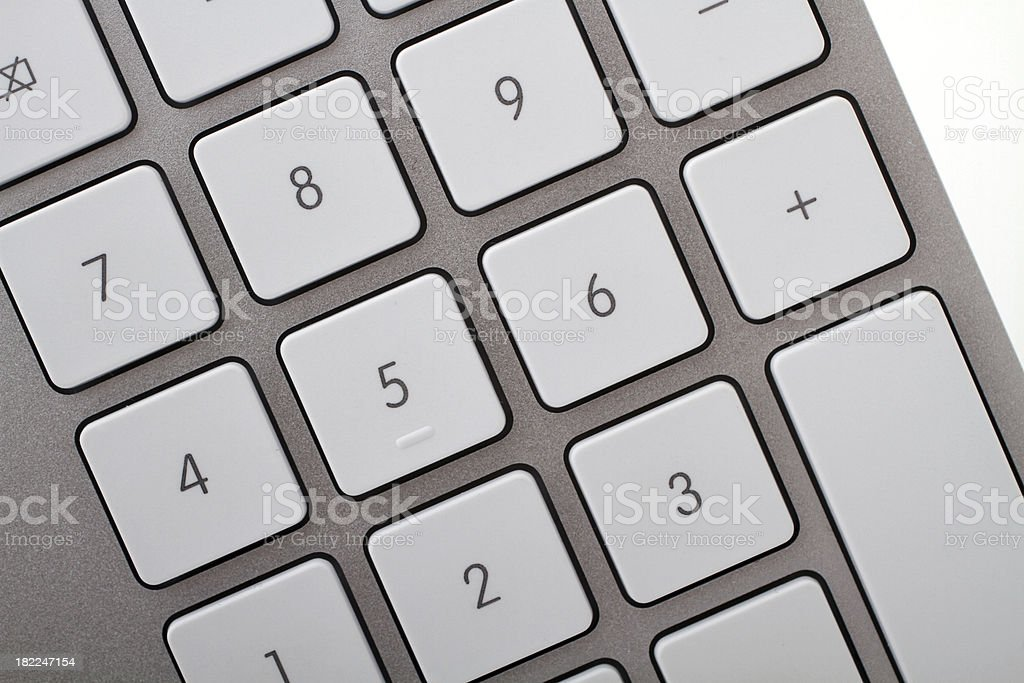 Close up of numeric keyboard with white keys royalty-free stock photo