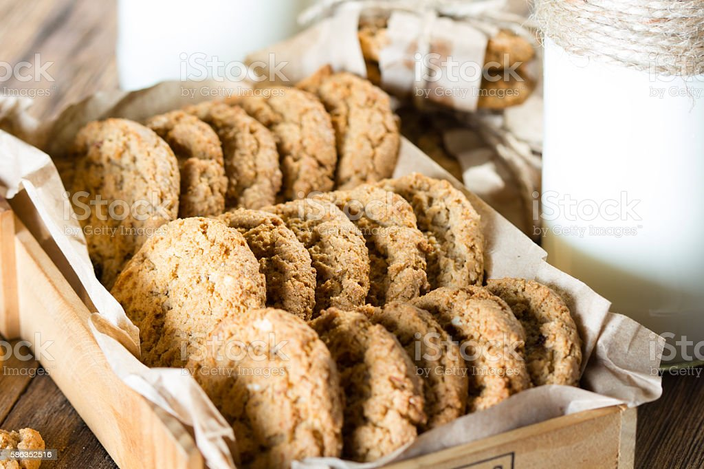 Close up of oatmeal cookies in wooden box. Rustic style stock photo