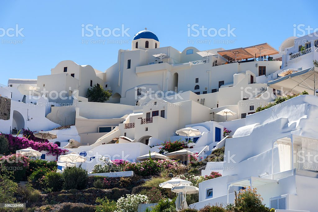 Close up of Oia village  in Santorini island foto royalty-free