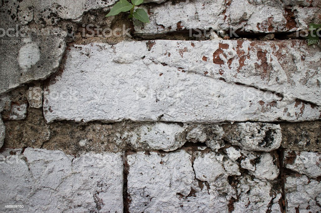 Close up of old brick wall at a former prison stock photo