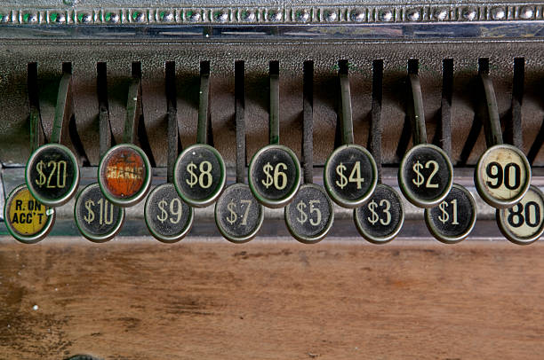 close up of old cash register keys stock photo