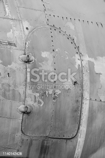 890084136 istock photo B&W Close up of Old CLASSIC airplane 1140142428