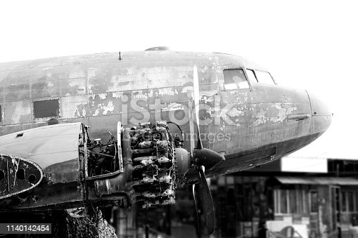 890084136 istock photo B&W Close up of Old CLASSIC airplane 1140142454