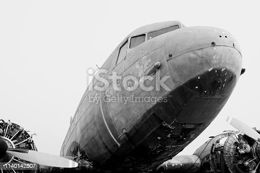 890084136 istock photo B&W Close up of Old CLASSIC airplane 1140142507