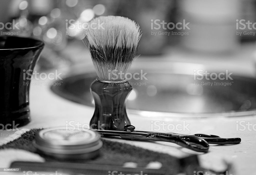 Close up of old fashioned Barber's equipment stock photo