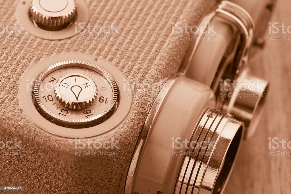 Close up of old fashioned retro 8 mm movie camera stock photo