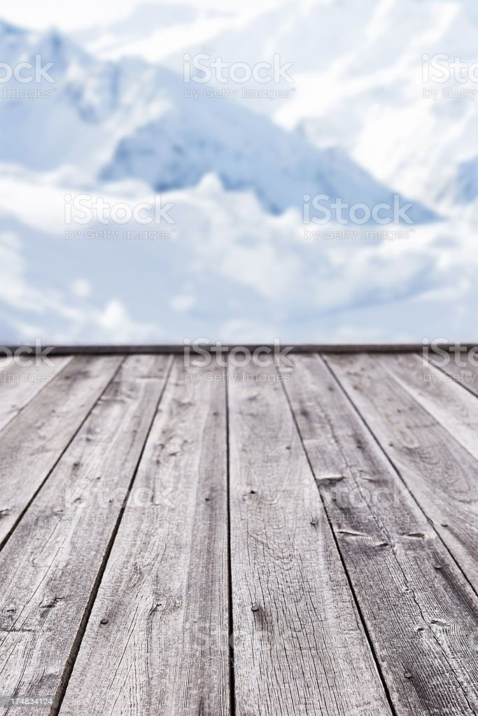 Close up of old pine wood textured picnic table royalty-free stock photo