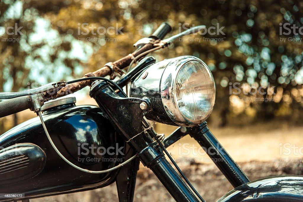 close up of old rusty black bike stock photo