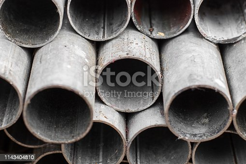 istock Close up of Old Steel pipe for construction texture background 1143404810