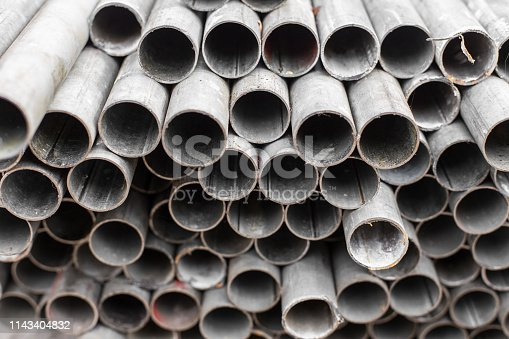 istock Close up of Old Steel pipe for construction texture background 1143404832