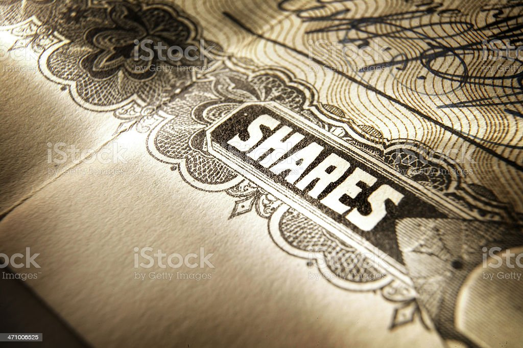 Close up of old stock certificate detail royalty-free stock photo