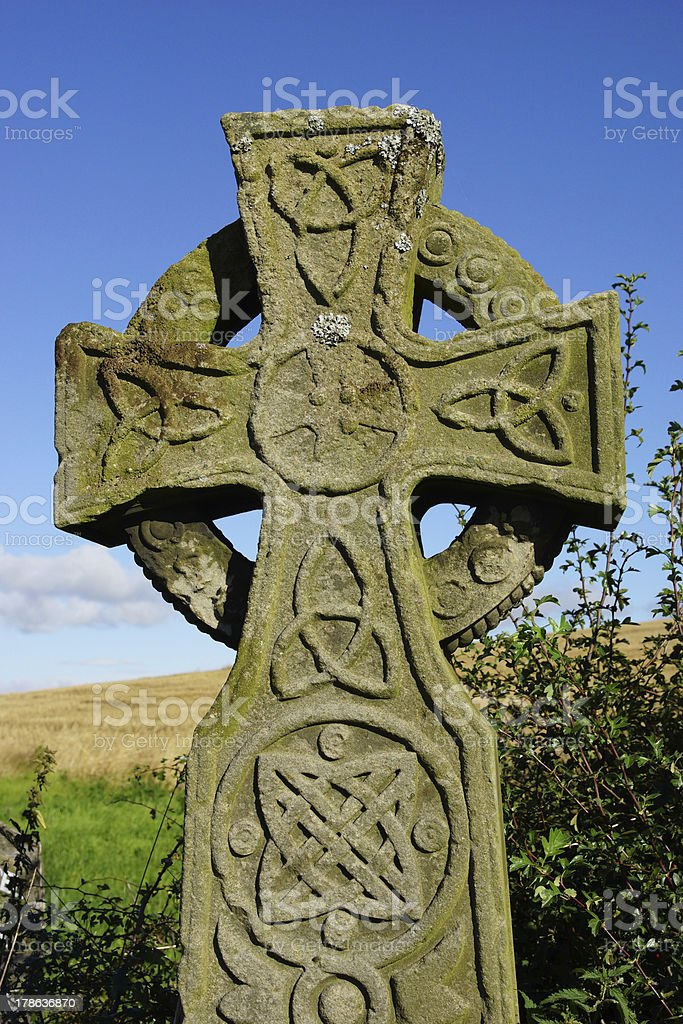 Close Up Of Old Stone Celtic Cross Head stock photo