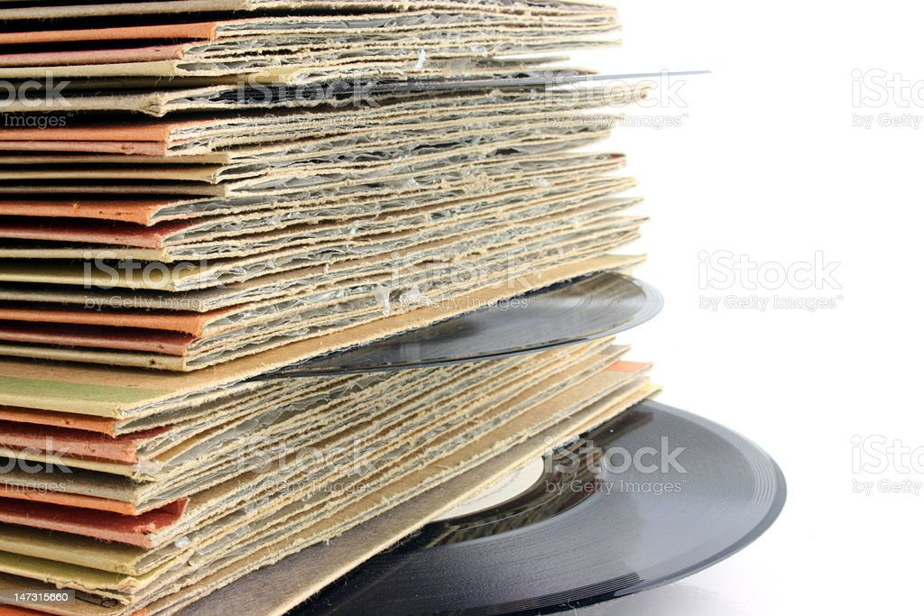 Close up of Old Vinyl Records DEEP DOF stock photo