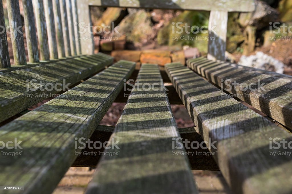 Close up of old wodden bench stock photo
