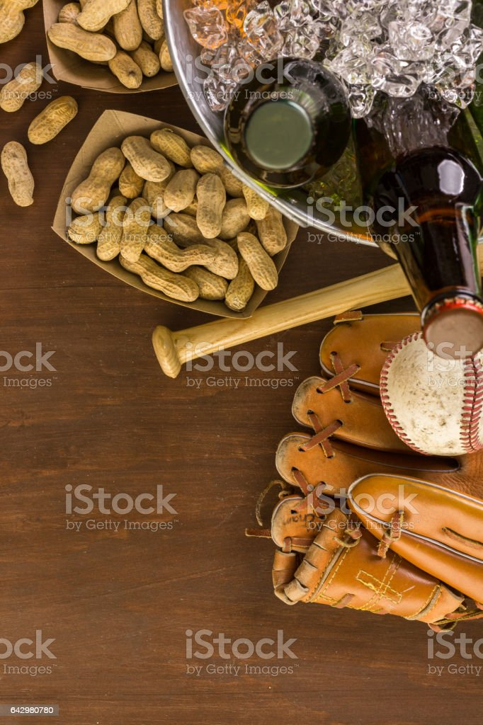 Close up of old worn baseball equipment stock photo
