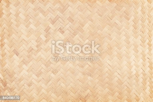 Close up of old woven bamboo in natural patterns, handmade weave bamboo texture background.