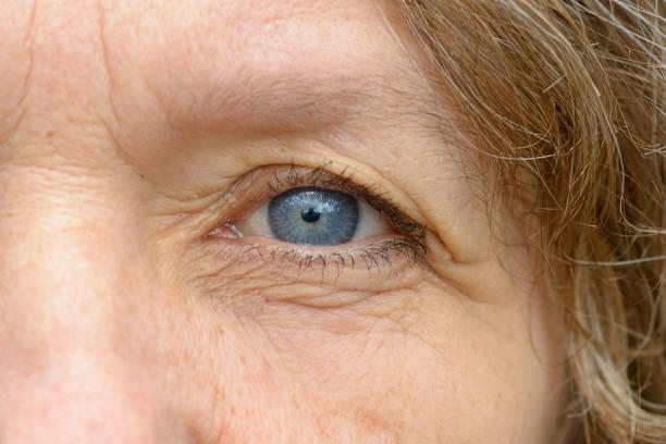Close up of one blue eye stock photo