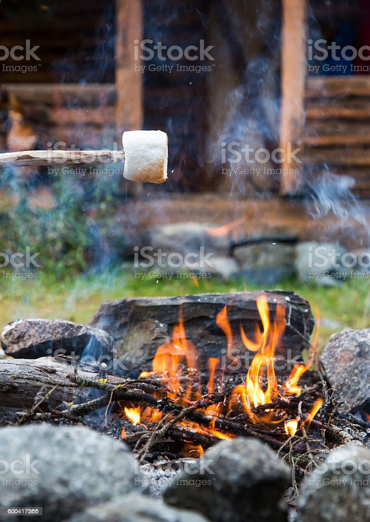 close up of one marshmallow roasting over campfire stock photo