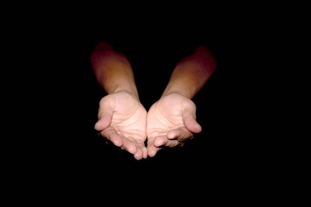 Nahaufnahme der offenen Hände isoliert. – Foto