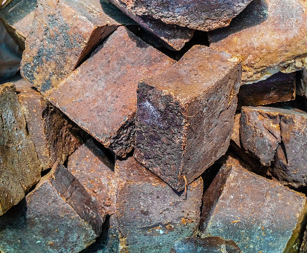 Close up of organic brown handmade soap bars stock photo