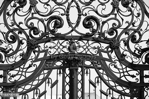 Close up of ornaments on old iron gate near Belvedere castle in Vienna. selective focus.