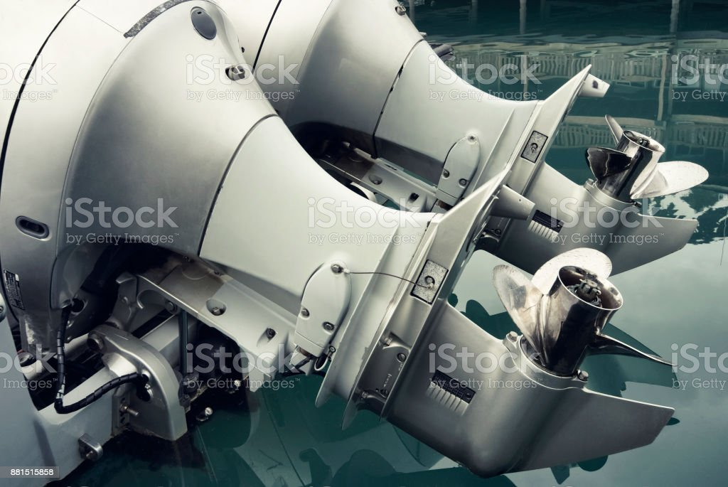 Close up of outboat engine propeller - foto stock