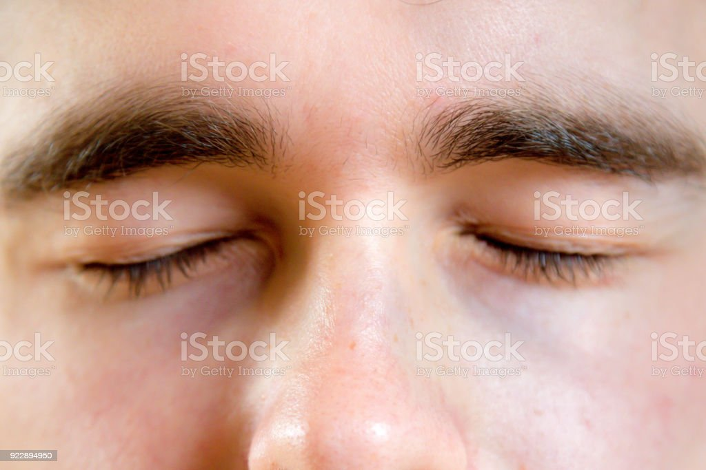 Close up of parts of a human face stock photo