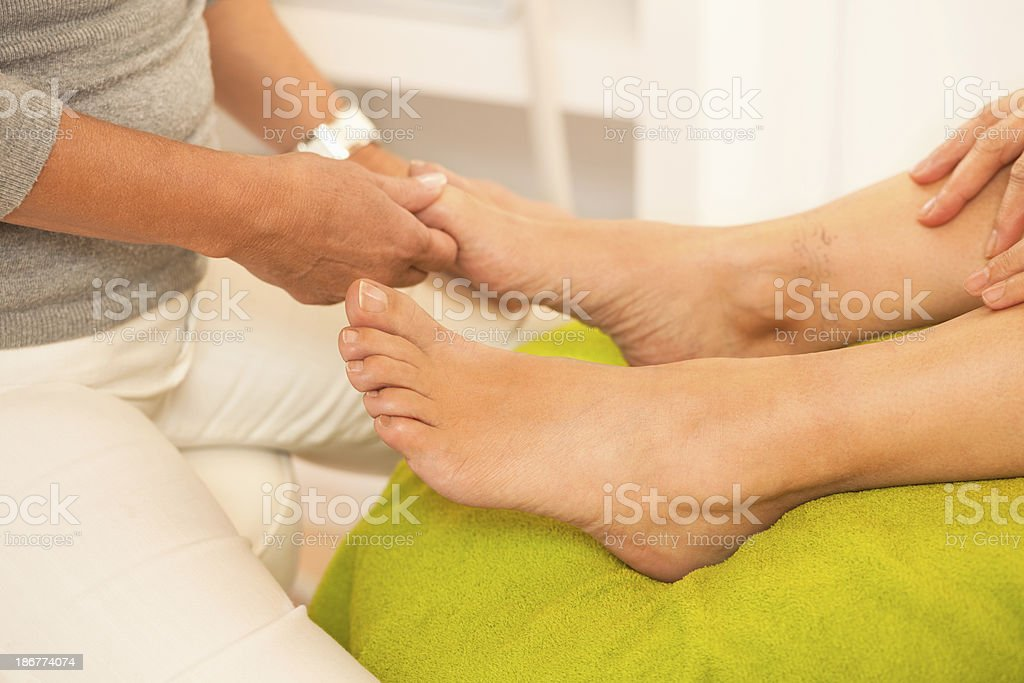 Close up of pedicure treatment royalty-free stock photo