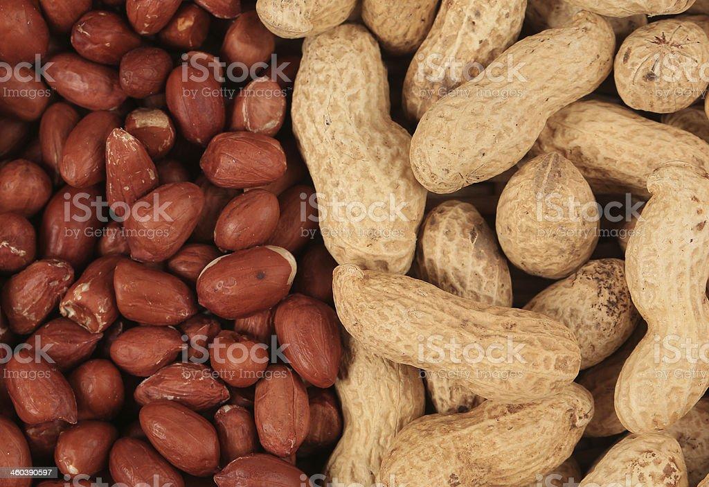 Close up of peeled peanuts. royalty-free stock photo