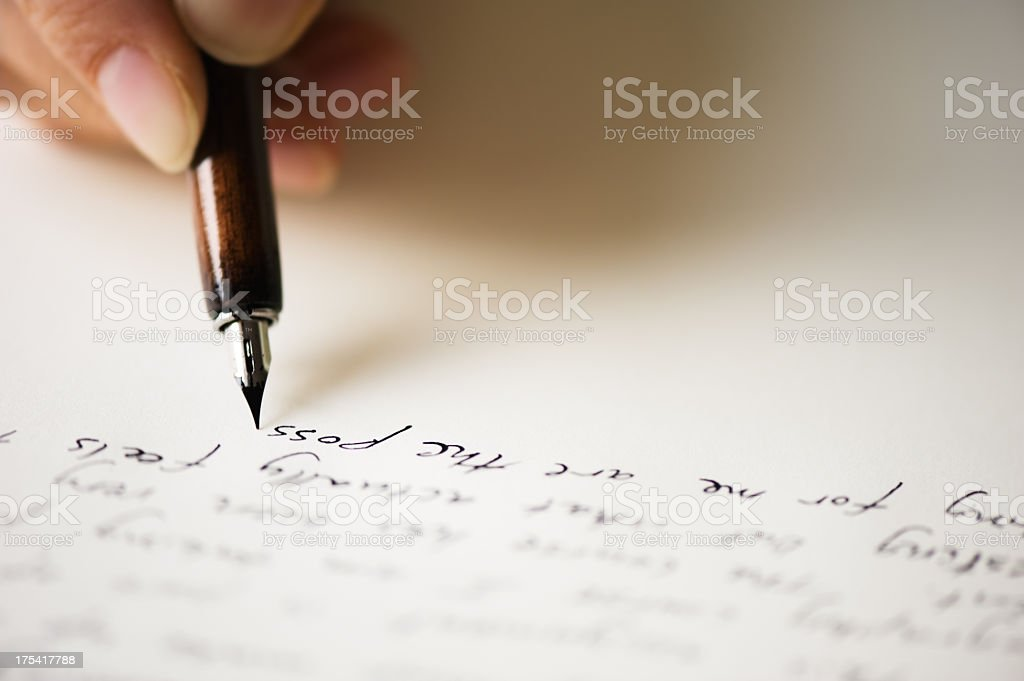 Close up of pen writing a letter stock photo more pictures of close up of pen writing a letter royalty free stock photo altavistaventures Images